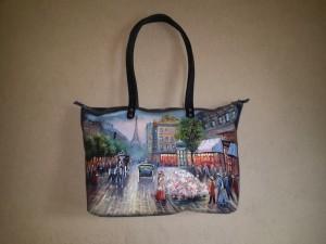 Женская сумка №150 из мягкой кожи, с росписью