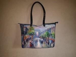 Женская сумка №151 из мягкой натуральной кожи, с росписью