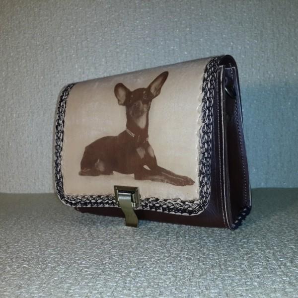 Женская сумка №010 из натуральной кожи с лазерной гравировкой