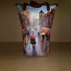 Женская сумка №152 из натуральной мягкой кожи с росписью