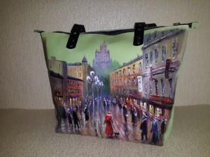 Женская сумка №153 из мягкой натуральной кожи, с росписью