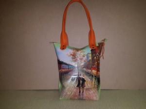 Женская сумка №154 из мягкой натуральной кожи, с росписью