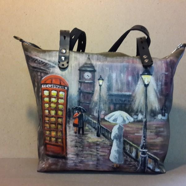 Женская сумка №155 из мягкой натуральной кожи, с росписью