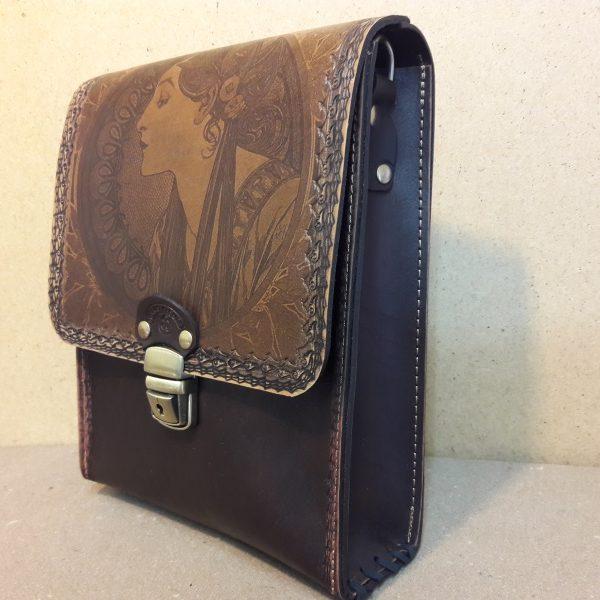 Женская сумка №013 из натуральной кожи с лазерной гравировкой