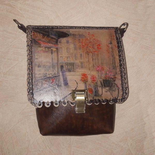 Женская сумка №156 из натуральной кожи, с росписью