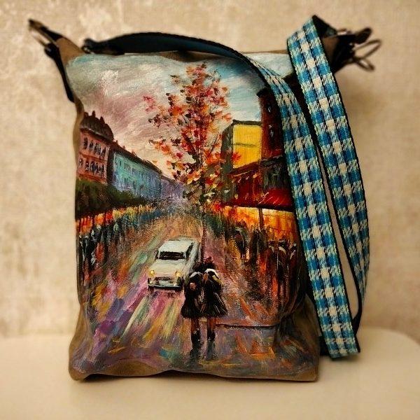 Женская сумка №158 из мягкой натуральной кожи, с росписью