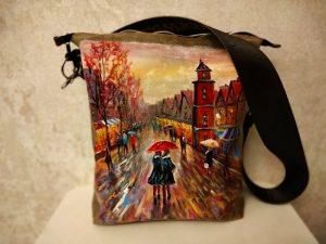 Женская сумка №159 из мягкой натуральной кожи, с росписью