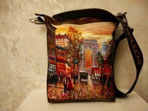 Женская сумка №160 из мягкой натуральной кожи, с росписью