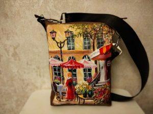 Женская сумка №161 из мягкой натуральной кожи, с росписью