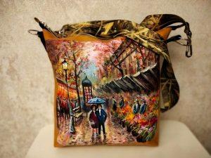 Женская сумка №162 из мягкой натуральной кожи, с росписью