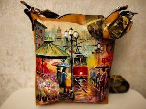 Женская сумка №163 из мягкой натуральной кожи, с росписью